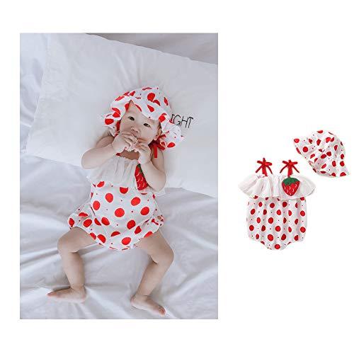 Kostüm Erdbeere Neugeborene - NROCF Babyfotografie Requisiten, Mützen Und Overalls Für Kleinkinder, Kleine Erdbeeren Und Kleine Eier (2 Farben),Rot,L