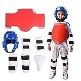 Sparring Gear Set, Durable Men Parastinchi Taekwondo Copricapo Guardia inguinale Fascia per Braccio Protezione Boxe Karate Kit Protezione Cavallo(3)