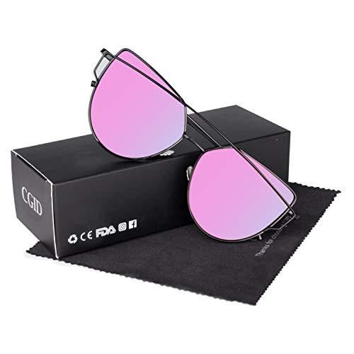 CGID Mode Polarisierte Katzenaugen Sonnenbrille For Damen UV400 reflektierenden Spiegel,Schwarz Violett-Silber