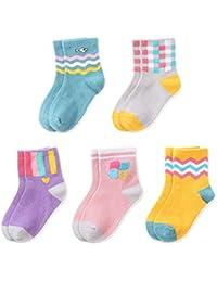 Lamdgbway 5 Pares Novedad Invierno Niñas Calcetines Cálido Niño Sin Costura Tripulación Calcetines
