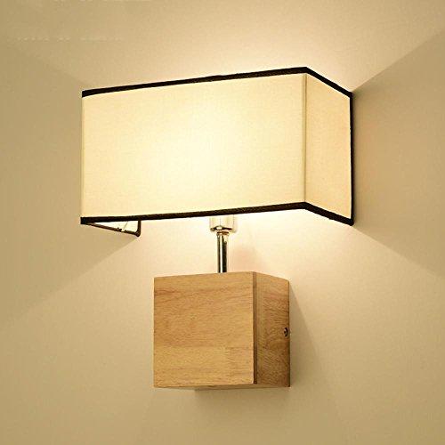 DE-Seeksung LED Wandleuchte Wandleuchte, Massivholz Metalltuch Design Mute Clock Leuchte E27, Kreativ Schlafzimmer Nachttisch Wohnzimmer Wandleuchte, Durchmesser 6,69 in * Hoch 12,99 in [Energieklasse A +] , A