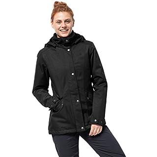Jack Wolfskin Park Avenue Women's Winter Jacket Waterproof Windproof Breathable Weatherproof Jacket, Womens, 1107743-6000005, Black, XL