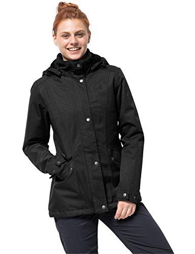 Jack Wolfskin Park Avenue Jacket, wind- & wasserdichte sowie atmungsaktive Winterjacke für Damen, wärmende Outdoor Jacke für Damen, Damen Jacke mit abnehmbarer Kapuze,Schwarz, S