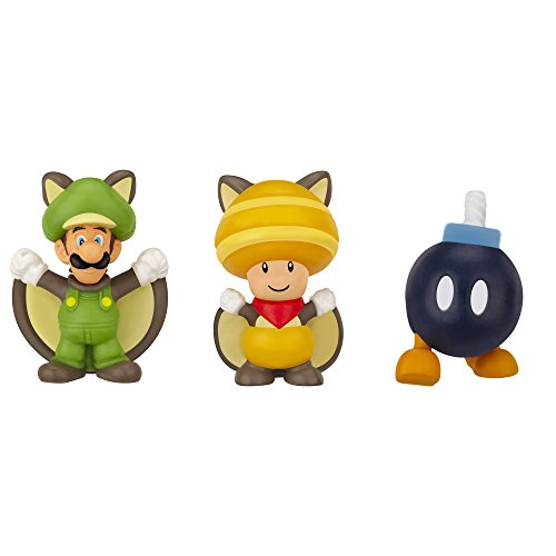Preisvergleich Produktbild Nintendo JAKKNIN016FSLTFSB - World of Micro Land 3 Figure Pack - Flying Squirrel Luigi, Toad und Bob-Omb