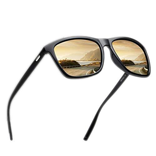 FLDONG Klassische polarisierte Sonnenbrille für Herren, Retro-Sonnenbrille, weiblicher, männlicher Spiegel, Sonnenbrille, Silberfarben, mehrfarbig
