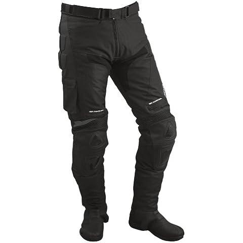 Roleff Pantalónes para Motorista de Tela/Malla y Cuero Racewear, Negro, XXL