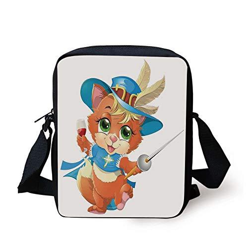 Cat,Kitten Musketeer with a Sword and a Glass of Wine Knight Cat Fun Cartoon Art,Blue Beige Orange Print Kids Crossbody Messenger Bag Purse Knight Zip
