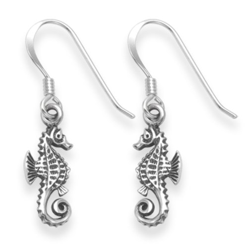 Sterling Silver Seahorse Earrings - SIZE: 7mm x 14mm 6132 . Shipped in our quality Silver Gift Box by 1st class mail