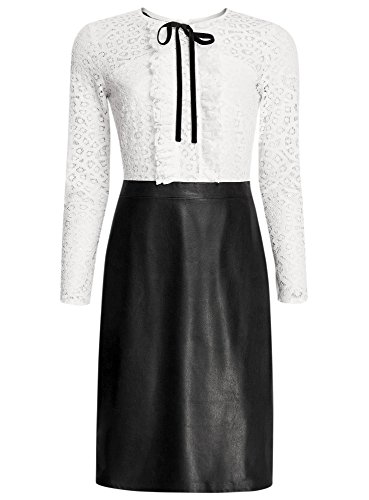 oodji Collection Femme Robe Combinée avec Haut en Dentelle et Jupe en Smili Cuir Blanc (2912B)
