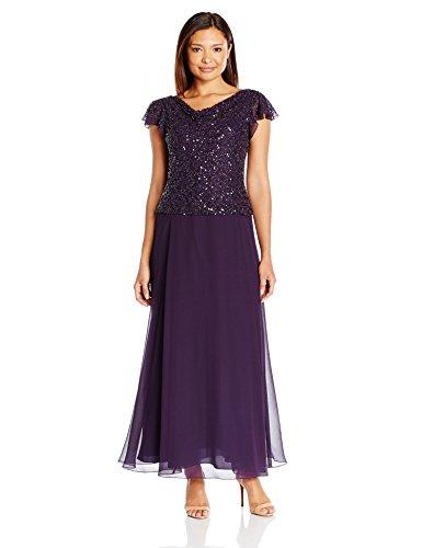 J Kara Damen Petite Long Beaded Cowl Neck Flutter Sleeve Gown Dress Kleid, Plum/Shaded, 40 Zierlich - Cowl Neck Beaded Dress