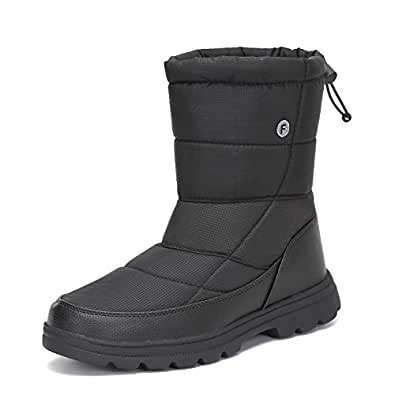 gracosy Winter Warm Snow Boots for Womens Mens Flat Fur Lined Ankle Boots Waterproof Thickening Winter Shoes Slip On Lightweight Platform Mid Calf Rain Boots Outdoor Walking Non-Slip Shoes for Skiing