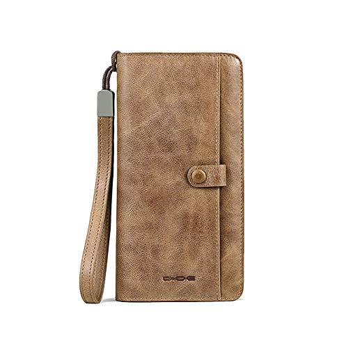 Yter Mens-Kartenmappenhalter Herrenbrieftasche - Leder Design Münzhalter Geburtstag Brieftasche für Männer (Farbe : Khaki)