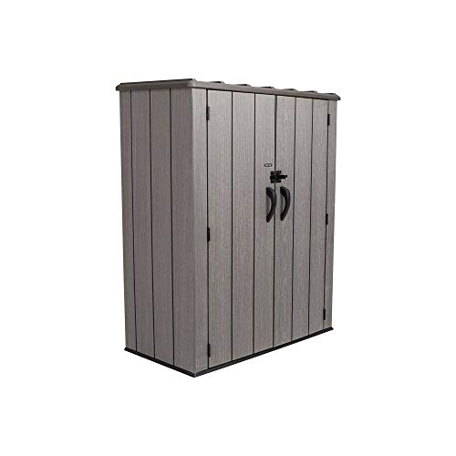 Lifetime Vertical Storage Shed (53 Cubic feet), Roof Brown, 74 x 142 x 174 cm