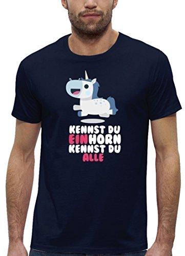 Unicorn Premium Herren T-Shirt Bio Baumwolle Kennst Du Einhorn kennst Du alle Stanley Stella Navy