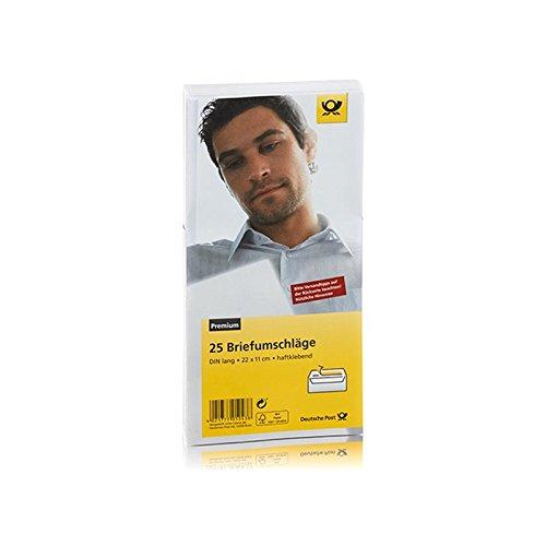 Preisvergleich Produktbild Deutsche Post - 25 Umschläge - DIN Lang weiß haftklebend ohne Fenster