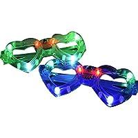 c057cb5a7d7290 DDG EDMMS 6 PCS coloré Coeur Flash LED en Forme de Lunettes de Soleil Mode  réutilisable
