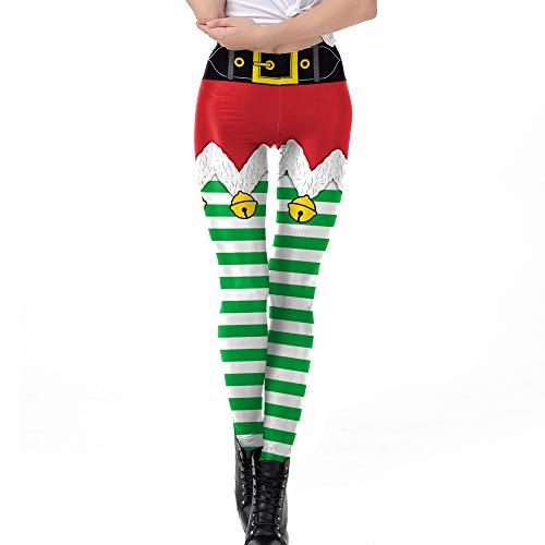 (Yoga Hosen Damen,JiaMeng Weihnachtshosen Christmas Bell Stripe Print Hose mit hoher Taille und Bleistifthose schokoladen Geschenke Cyber Monday Geschenk)