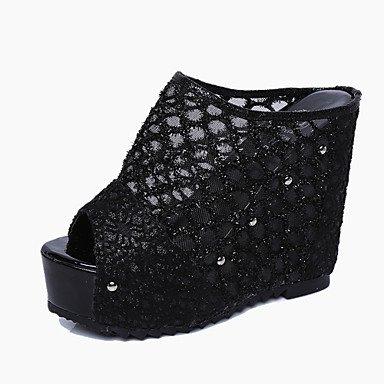 LvYuan Damen-Slippers & Flip-Flops-Büro Kleid Lässig-PU-Keilabsatz-Komfort-Schwarz Beige Beige