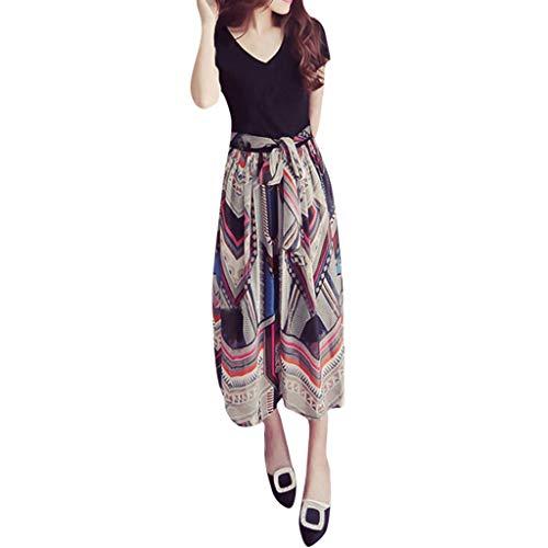 Holz-detail-kleid-schwarz (Damen Kleid Kurzarm Lose T-Shirtkleid Casual Tops Langeshirt Große Strand Kurzarm damen kleider sommer lang Briskorry)