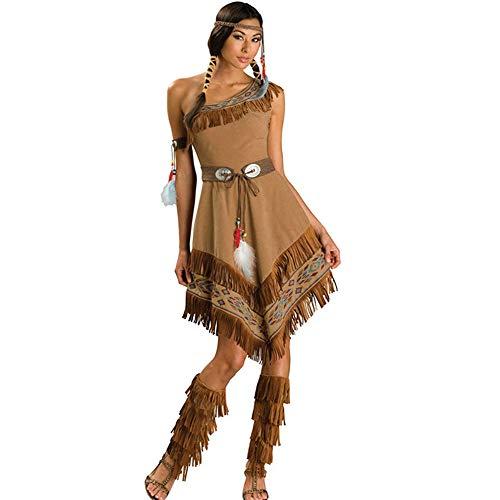 Ausgefallene Kleid Indische Prinzessin Cosplay Das Primitive Outfit Halloween Kostüm Feder Gürtel Tassel Stiefel