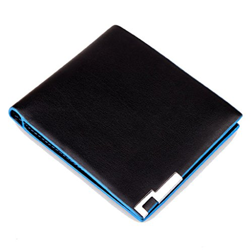 Internet Hommes ultra-mince en cuir PU Porte-monnaie en cuir portefeuille bifold 12cm x 10cm (Noir+Bleu)