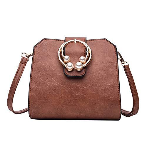 Bfmyxgs Fashion Messenger Shell Taschen für Frauen Mädchen Soft Schwarz Weiß Braun Solider Reißverschluss mit weichem Griff Flut Ins Kleine quadratische Tasche Chic Retro Casual Solide Bag Totes