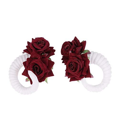 Lurrose schaf horn haarspange rose blumen cos haarnadel kopfbedeckungen foto requisiten haarschmuck zubehör für halloween cosplay kostüm party (weiß)
