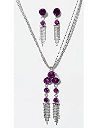 DollsofIndia Silver Plated Chain With Magenta Stone Studded Pendant And Earrings - Metal (LA67-mod) - Magenta