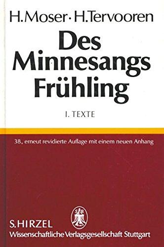 Des Minnesangs Frühling, Bd.1, Texte