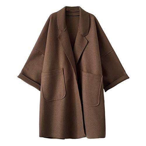 IOSDH8 Herbstfrauenlose Mischung MantelMantel Cardigan lässige Feste langärmelige Jacke Outwear, XL, Kamel - Wolle-mischung Military Mantel