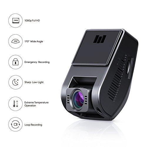 """41oN9Cjf3nL - AUKEY Dashcam, Full HD 1080P Cámara para Coche 170° Grados de Amplio Ángulo con Detección De Movimiento, Visión Nocturna, G-Sensor, Loop de Grabación, 1.5"""" LCD Pantalla (DR02)"""