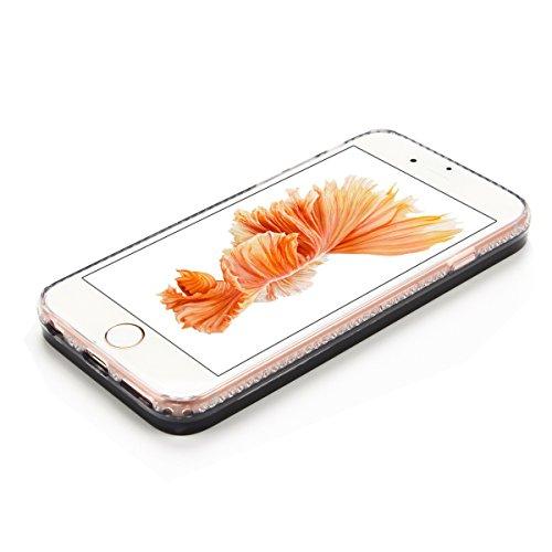 iPhone 6 / 6S Plus Hülle [5.5 Zoll] , Hart PC Hardcase Tasche Liquid Schutzhülle Treibsand Etui Anti-stoß Telefon-Kasten Glitzer Schutz Glitter Schale Anfire Case Für Apple iPhone 6 Plus Cover - Rosa  Blau Herz Symbol
