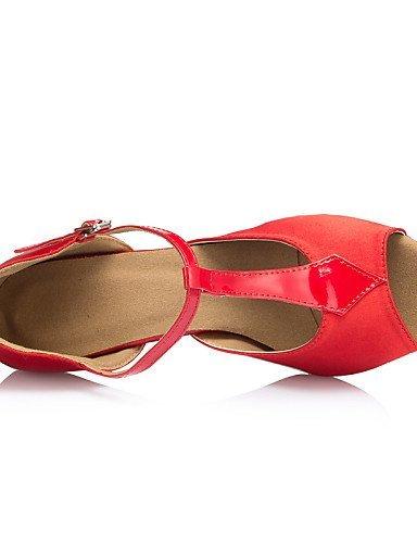 ShangYi Chaussures de danse ( Noir / Rouge ) - Personnalisables - Talon Personnalisé - Satin / Similicuir -Latine / Jazz / Salsa / Samba / Black