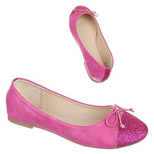 Kinder Schuhe, Z-210, BALLERINAS HALBSCHUHE MIT GLITTER Pink