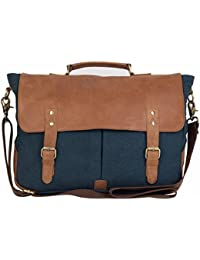 The House of tara Canvas Tan And Combat Blue Laptop Briefcase