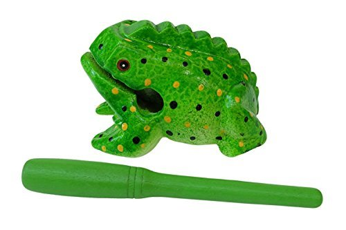 Unique Thailand 5 inch Hand Carved Wooden Frog Musical Instrument Tone Block (Green type 2)