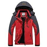 Panegy - Mujer Chaqueta de Invierno para Deportes al aire libre Esquí Ski Montaña de Lana Impermeable Rompevientos Chubasqueros - Rojo - Talla XXL