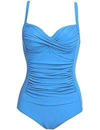 781ad67a368a Lonlier Damen Badeanzug Push Up Vintage Bauchweg Sexy Frauen Bademode  Monokini Tankini Strand Schwimmanzug