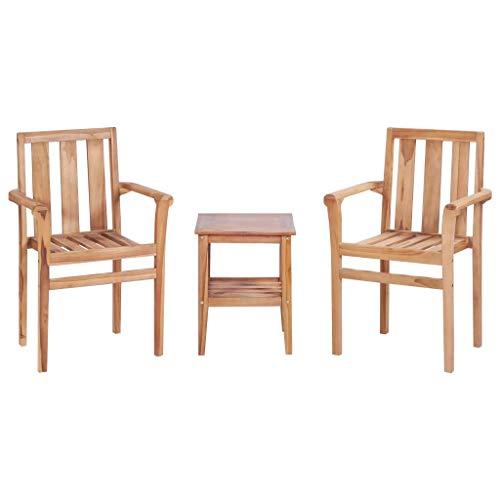 Tidyard- Bistro-Set 3-TLG. Teak Massiv Solid Teak Furniture Garden Furniture Garden Furniture Set -