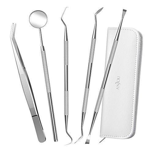 Anjou 5er Dental Set Zahnreinigung set aus 304 Edelstahl, Zahnpflege Set Dental Instrument Zahnkratzer mit Mundspiegel