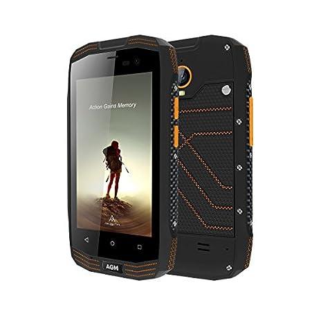 AGM A2 RIO Outdoor Handy Ohne Vertrag, 4,0 Zoll Dual Sim Android 5.1 Quad Core 2GB + 16GB 8.0MP Kamera IP68 Wasserdichte Stoßfest Staubdichten 2600mAh Akku Schwarz [AGM Offizielle]