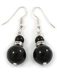 Schwarz Keramik Perle mit Kristall Ring Ohrringe in Tropfenform Silber Tone–40mm L