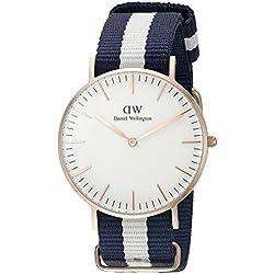 Daniel Wellington 0503DW - Reloj con correa de acero para mujer, color blanco/gris, (chapado en oro rosa)