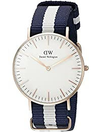 Daniel Wellington - 0503DW - Glasgow - Montre Mixte - Quartz Analogique - Cadran Rose - Bracelet Nylon Multicolore