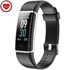 Idea Regalo - YAMAY Braccialetto Fitness Tracker Orologio Cardiofrequenzimetro da polso Smartwatch Donna Uomo Impermeabile IP68 Schermo a Colori Smart Watch Activity Tracker Pedometro per iPhone Samsung Android iOS