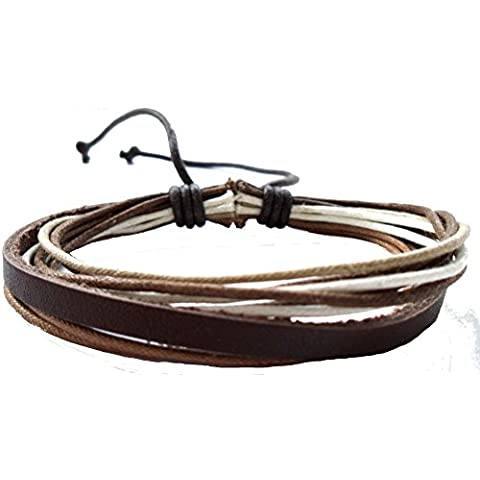Cavi cinturino in pelle Chic-Net luce scuro cinturino in pelle marrone bianco regolabile in larghezza nickel unisex libero