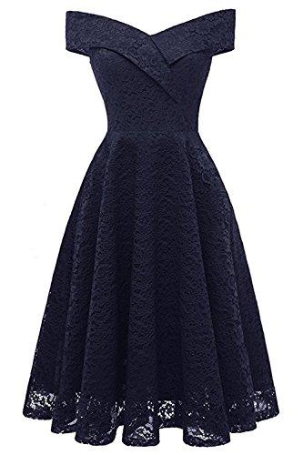 MisShow Damen Elegant Spitze V-Ausschnitt Abendkleider Cocktailkleider Partykleider Tanzenkleider Ballkleider Kurz Navyblau Gr.2XL