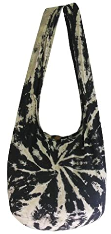 White mix Black Tie Dye Hippie Boho Sling Crossbody Shoulder Messenger Bag Bohemian Large HT47