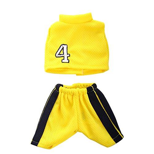 MagiDeal 2 pcs/Set Puppe Sport Basketball Kleidung Anzug - T-Shirt + Hosen - Outfit Für 14 '' American Girl Puppen - Gelb
