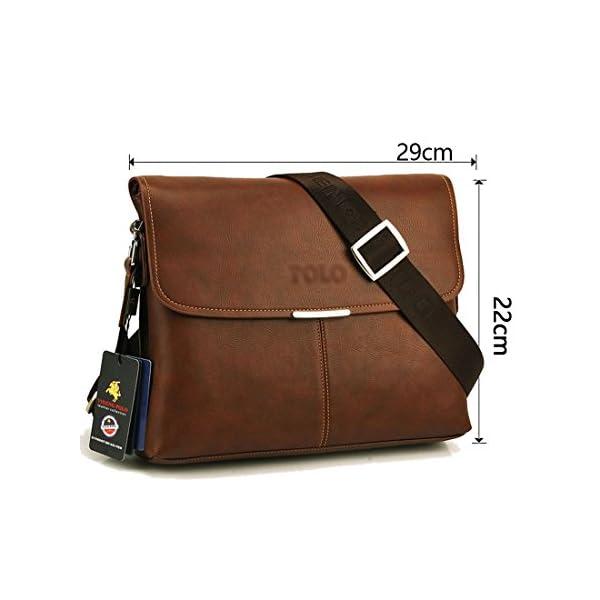 41oND3UXIxL. SS600  - Maod Cuero Suave Bolso Mensajero del Bandoleras Hombre Vintage maletin portatil Color Sólido Bolso Negocio Maletín…